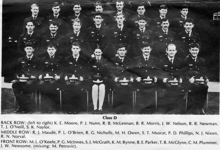 "Class 159. Group D. Monday 26 June 1978. Back Row: ( L - R ) K.E. MOORE, P.J. NUMM, R.B. McLENNAN, B.R. MORRIS, J.W. NELSON, R.R. NEWMAN, T.J. O""NEILL, S.K. NAYLOR. Middle Row: R.J. MAUDE, P.L. O'BRIEN, R.G. NICHOLLS, M.H. OWEN, S.T. MUSCAT, P.D. PHILLIPS, N.J. NIXON, Robert N. NORVAL. Front Row: M.L. O'KEEFE, P.G. McINNESS, S.J. McGRATH, K.M. RYNNE, B.E. PARKER, Terrence Raymond McGLYNN ( R.I.P. ), C.M. PLUMMER, J.W. NEWSOME ( Missing: M. PETROVIC )"