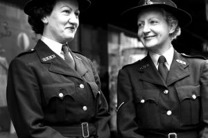Constables Madge Welby and June Abbott on point duty in the city in 1959.