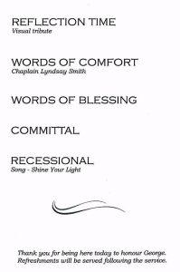 George BALDOCK - Funeral pamphlet