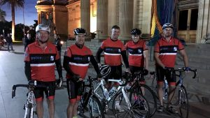 Warwick Campbell, Mark Meredith, Peter Ensor, Nathan Edwardson from Canberra, and Tom Magann at the Police Remembrance Ride. Photo: CONTRIBUTED