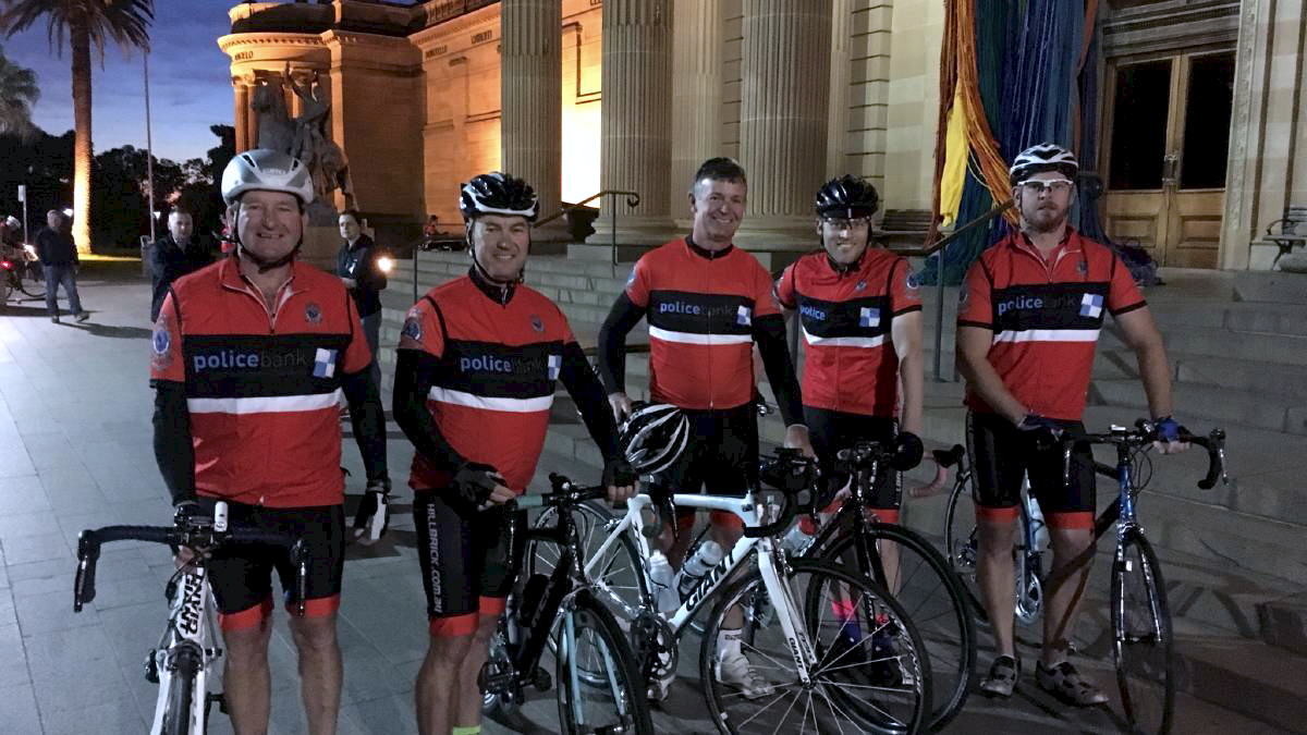 Warwick Campbell, Mark Meredith, Peter Ensor, Nathan Edwardson from Canberra, and Tom Magann at the Police Remembrance Ride.