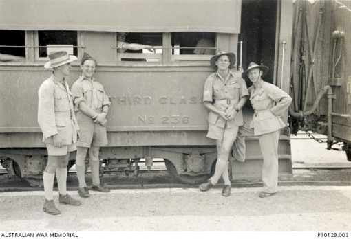 c1942 Description Informal group portrait of four graduates of an Empire Air Training Scheme (EATS) course in Rhodesia. Probably taken at the port of Mombassa, Kenya, several of these recent graduates were about to depart for service with 454 Squadron RAAF in the Eastern Mediterranean. Left to right: 406684 Sergeant (Sgt) Ralph Mervyn Simpson RAAF, killed in action on 4 December 1943, Charlie Mumford, 403215 (O210106) Sergeant David Valentine Paul and 400954 Sergeant George Townson Agg. Sgt Paul, later promoted to Flight Lieutenant (Flt Lt) enlisted on 4 January 1941 and trained as a pilot with the Empire Air Training Scheme (EATS) in Rhodesia. He was posted to 454 Squadron RAAF. Flying a Baltimore aircraft from a base in North Africa he was shot down on 4 December 1943 during a sortie over the Mediterranean, Sgt Simpson being killed after parachuting from the crashing aircraft. Rescued from the sea with surviving crew members Agg, now a Warrant Officer (WO) and WO 645357 Jim Rennie RAF, Paul became a prisoner of war (POW) of the Germans, finally being released in 1945 at Stalag IVb POW camp in 1945 at Muhlberg, Germany. He joined the NSW Police Force after the war and remained in the RAAF Reserve rising to the rank of Squadron Leader.