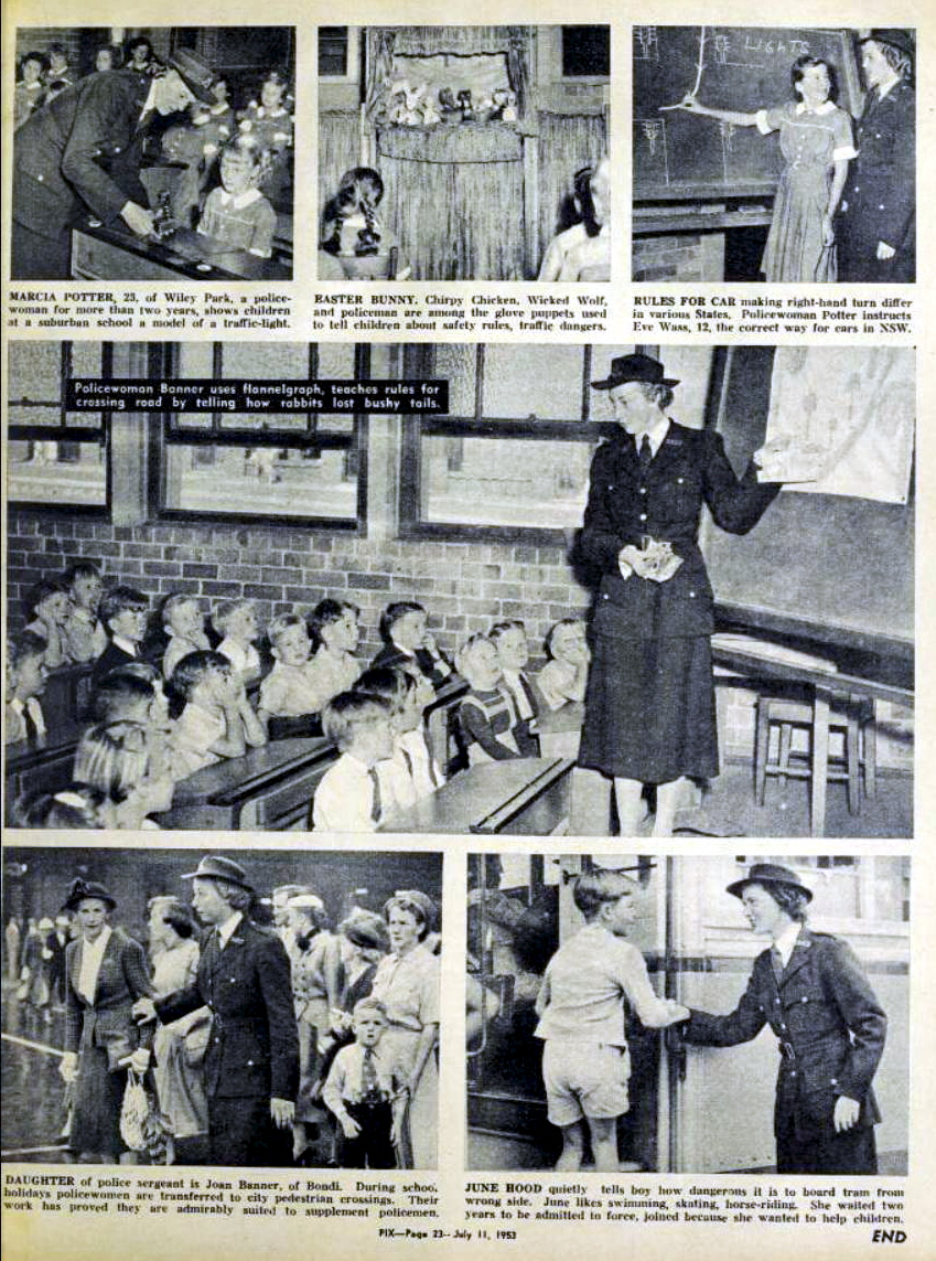 NSW Police School Lecturing Unit - 11 July 1953<br /> PIX MAGAZINE<br /> Volume 30, No. 5 ( 11 July 1953 )<br /> Pages 21 - 23<br />