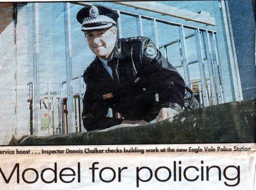 Denis Walter CHALKER Service boost ... Inspector Dennis Chalker cecks building work at the new Eagle Vale Police Station.Model for policing