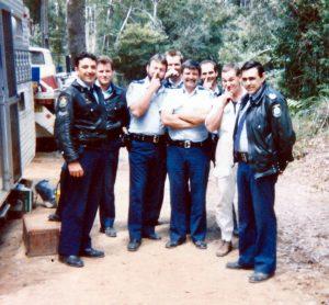 September 1992 - Tracker Bradley on far right. ( Sgt 2/c ). Wild Cattle Creek State Forest Logging Demo west of Dorrigo. RIP Tracker.