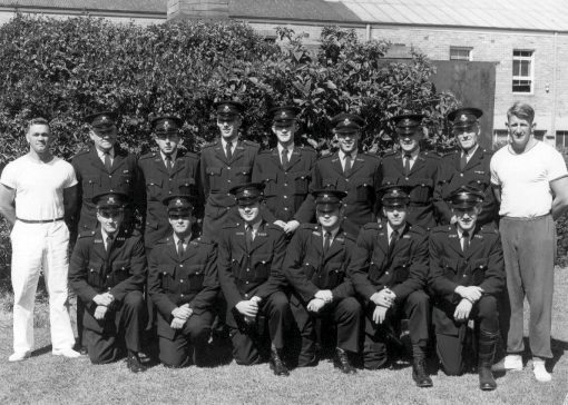Back Row, l to r: Con 1/c Roy Dykes, Sgt Garnet Brickell, Cadets Bill Morey, Noel Carroll, Darrell Griffiths, Alf Peate, Gary Jennings, Sgt Jack Hyslop, Con 1/c Brian Andrews<br /> Front row: Cadets John Albury, Jim Dennis, Barry Filewood, George Radzievic, Graham Wheatley, Geoff Chester<br />