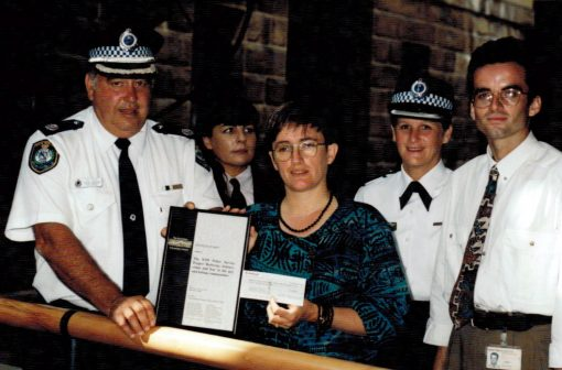 1995 with Alf & I ( Susie Thompson ) at an Award Ceremony after winning the 1994 Australian Heads of Government National Violence Prevention Award for NSWPS. ( I'm hunting where I have higher resolution ).Front L to R Assist Comm Alf Peate, Sue Thompson, Luke PrestonRear: Bron Steele, Chief Supt (?) Lola Scott.