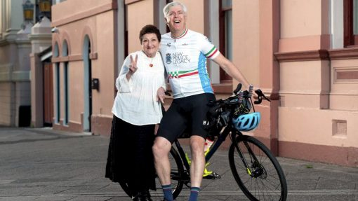 Senior Constable Anthony New at Inner West PAC will ride across country to raise money for colleague Pam Sutton, who has battled cancer since 2014. Picture: Monique Harmer