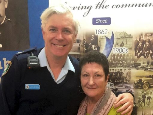 Senior Constable Anthony New and Pam Sutton at Newtown Police Station