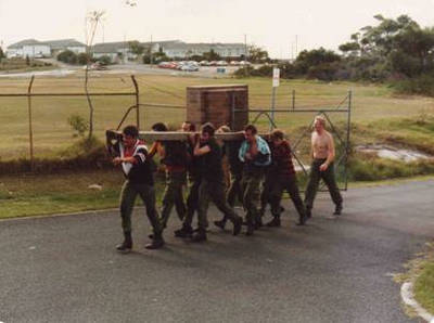 Blue taking PT on a MUC course in 1980 when he was 55 years old