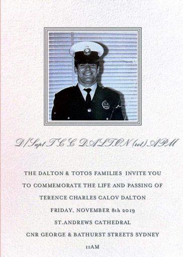 Terence Charles Calov DALTON APM - Funeral notice