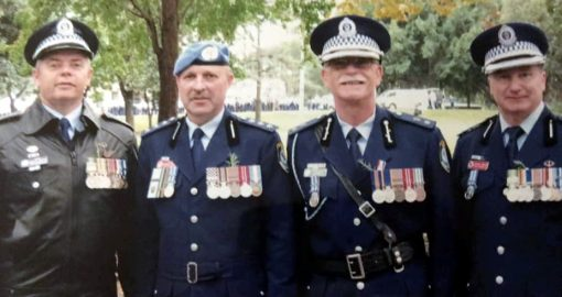 Dianna Mackay 17 hrs RIP Terry. What a fantastic person and friend. We will miss you especially on ANZAC Day 🙏👮‍♀️👮‍♀️👮‍♀️ Found this photo of Rupert, Terry, Rick Steinborn and Tony Compton ANZAC Day 2010 ❤️