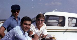 FLIGHT OVER WESTERN SUBURBS OF SYDNEY WITH CONSTABLE BILL ELIAS, PHIL CHARLIER AND GREG CALLANDER.GREG CALLANDER (CAP), NABIL 'BILL' ELIAS & PHIL CHARLIER. ALL POLICE FROM CABRAMATTA POLICE STATION.BANKSTOWN AIRPORT, NSW.APRIL 1980