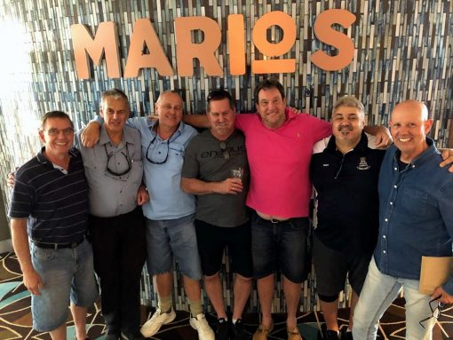 27 November 2019, the 1975 NSW Police Cadets had a luncheon for Chris Manning ( 2nd from left ) who is severely ill. A great day with food and drinks. Most drove between 2 and 3 hours for the special occasion. with ( L - R ) Rob Schwarz, Chris Manning, Jeff Sloane, Grant Duncan, Neal Carr, Charlie Dagostino & Ian Dawson, at Belmont 16s.