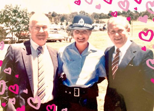 Father of Carolyn SHIELS ( # 23083 )- Bruce Shiels ( # 9132 ) ( on left ) with Louise RULE and Cousin to Carolyn - Geoff Hoggett ( # 9203 ) on right.   19 December 1986.""