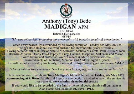 Anthony Bede MADIGAN APM AKA Tony