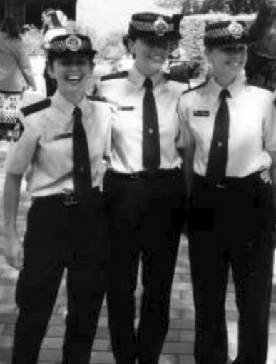 Sally's graduation day - pictured with squad mates Constable Krissie Warriner and Constable Mardi Watts