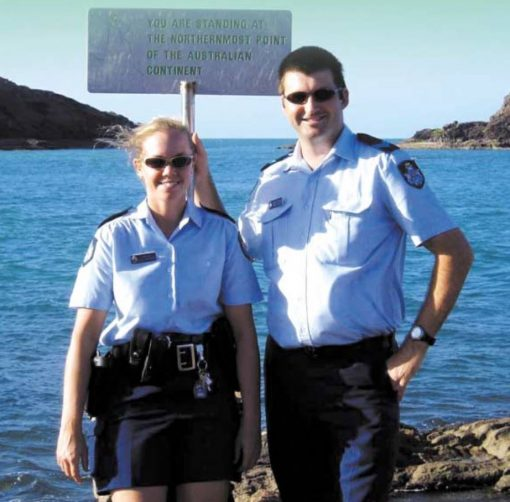 Constable Constable Sally Urquhart and Senior Constable Trad Thornton on the northernmost point of the Australian Mainland.