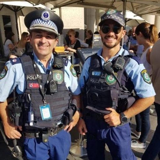 On the beat - Mr Vidal (right) with a colleague ( his father - David ) from the Sydney City Police Area Command. (NSW Police)