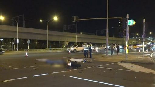 The scene of the crash where Mr Vidal was killed yesterday. A ute driver has now been charged. (9News)