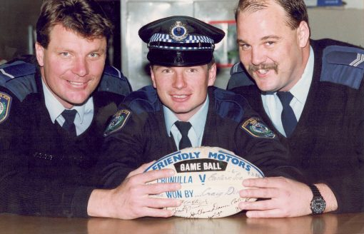 Constable 1/c Peter B. ROMELINGH - on left, Constable ?, Senior Constable Les HOCKING - on right - 1992