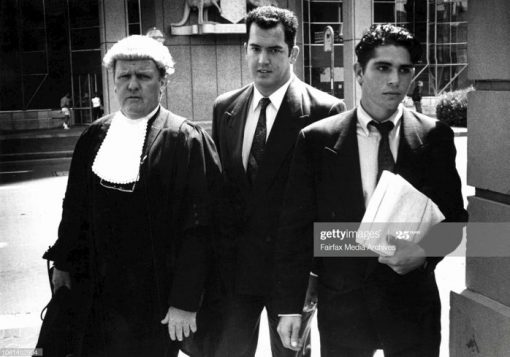 Photograph from todays police tribunal concerning drug by Frenchs forest police. Arriving back from lunch, center former Constable Andrew Neilson, with Barrister Peter Dailly (left) and instructing Solicitor James Hall.Constable Neilson ... seriously affected by alcohol.An off-duty police officer was too drunk to remember if he was in Frenchs Forest police station the night the duty officer smelt burning cannabis in the station, the Police Tribunal heard yesterday.Constable Andrew Neilsen told the tribunal he had been drinking jugs of Kamikazes - a cocktail of vodka, tequila and Cointreau - and remembered little of the night. March 1, 1994. (Photo by Dean Sewell/Fairfax Media via Getty
