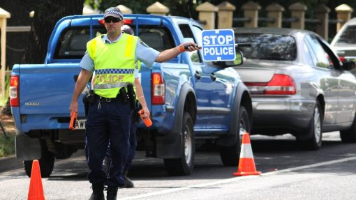 PROACTIVE POLICING: Leading senior constable Wes Bush at the Bathurst Road random breath testing site yesterday morning. Photo: STEVE GOSCH 0102sgpolice