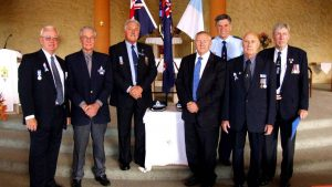 Pictured above (from left) are retired assistant commissioner Geoff Schuberg, retired police officer Terry Rigby, chairman of the local retired police group Phil Peters, Miranda MP Barry Collier, police chaplain Reverend Rod Harding, police remembrance day co-ordinator John Prince and retired police officer John Currie.