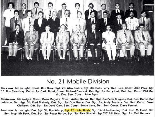 21 Special Squad - 1979. Back Row, Left to Right: Const Bob BLORE, Sgt 2/c Alan EMERY, Sgt 3/c Ross PARRY, Det SenCon Alam PEEK, Sgt 1/c Ron CATHRAY, Cst 1/c Carlo ROSSI, Cst Richard DASCZYK, Det Sgt 3/c Barry INALL, Det SenCon Phil MARTIN, Det SenCon John EGAN.Centre Row, Left to right: Cst Dean MAGUIRE, Cst Arthur SNOOK, Det Sgt 3/c Peter BURGESS, Det SenCon Ron JOHNSSON, Det Sgt 3/c Fred MAHADY, Det Sgt 3/c Don GRACE, Det Sgt 3/c Andy TOMICH, Det SenCon Owen CLARKSON, Det Sgt 3/c Dave CARR, SenCon Steve LANE, Det SenCon Dave FENNELL.Front Row, Left to Right: Det Sgt 2/c Ron ALLSOP, Sgt 2.c John BOYLE, Sgt 1.c John HARDING, Det Insp Mr FLOOD, Det Sen Insp Mr BECK, Det Sgt 3/c Roger HARDY, Sgt 3/c Rick SINCLAIR, Sgt 2/c Bill SIELY, Sgt 1/c Carl HERMES.NSW DETECTIVE BICENTENTIAL BOOK