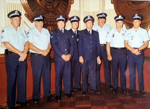 Sgt 2/c Don AVERY on far left, Sgt 2/c ?, SenCon ?, ?, Sgt 3/c ?, ?, Sgt 2/c ?, Constable ?.<br /> Unknown event.<br /> Summer and winter uniforms. Old Diamond NSW Police patch ( so pre early 1980's ) NOT in Order, but those who received Awards on this date are: SenCon Lloyd M. DEVER - Cert of Merit re vehicle fire at Coffs Harbour on 20 Jan 1979. Sgt 3/c Keith GABB - Cert of Merit re electrocution at Coffs Harbour on 20 Jan 1979. SenCon Eric Bruce IDDLES - Bronze Medal re vehicle fire at Coffs Harbour on 20 Jan 1979. ProCst Ian J. YOUNG - Bronze Medal re suicide rescue on Sydney Harbour Bridge on 30 Jan 1979. Sgt 3/c Donald Lester AVERY - Cert. of Merit for building fire at Manly on 10 June 1978. Sgt 3/c Donald CAMPBELL - Bronze Medal re suicide rescue at The Gap, Watsons Bay on 12 Sept 1978. Sgt 2/c Henry Derold George KUPKE - Bronze Medal ( Bar ) re suicide rescue at The Gap, Watsons Bay on 12 Sept 1978. Sgt 3/c John KELLY - Cert. of Merit at Narrabri Ck on 12 Aug 1978. That is eight of the eight in photo.