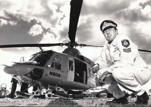 John BYERS with a NSCA ( National Safety Council Australia ) helicopter at Albion Park airport.