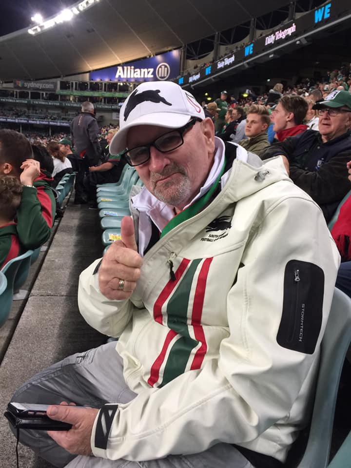 Dallas STIRTON at Allianz Stadium watching the mighty South Sydney Rabbitohs.