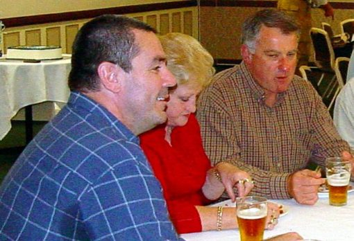 26 SEPTEMBER 2004<br /> SEND OFF FUNCTION FOR FORMER SENIOR CONSTABLE GREG CALLANDER HELD AT WESTERN SUBURBS LEAGUES CLUB, UNANDERRA.<br /> Greg Callander, Flow Lindwall, Peter Lindwall, Phil Dunn, Joe Mura, Kerryn Mura, Mick Tranby all sitting at the table closest to camera.