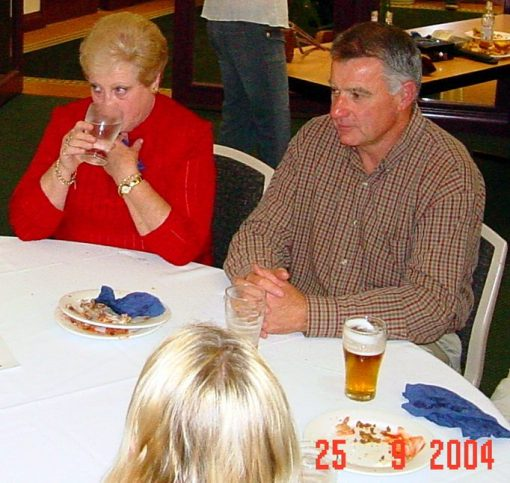 26 SEPTEMBER 2004<br /> SEND OFF FUNCTION FOR FORMER SENIOR CONSTABLE GREG CALLANDER HELD AT WESTERN SUBURBS LEAGUES CLUB, UNANDERRA.<br /> Paul Cole, ?, Flo Lindwall, Peter Lindwall sitting at the table.
