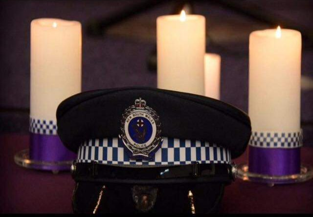 NSW Police cap, candles & Crest