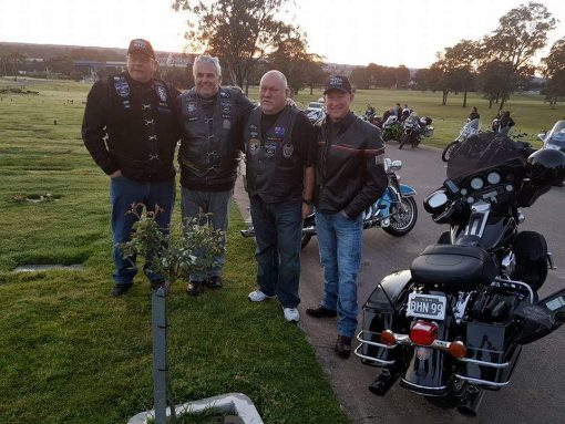 Raymond Charles ROBINSON, Ray ROBBO, Ray ROBINSON. 18 Sept. 2016· Sydney ·<br /> Castlebrook Memorial Park Rouse Hill for the Dawn Service to remember Bryson Anderson.<br /> L to R<br /> Mal Brown (me)<br /> Ray Robinson (Robbo)<br /> Harley Willox<br /> (Club President)<br /> Simon Bouda<br /> (Channel 9)<br /> That is my black Harley Ultra Classic.<br /> Another memorable Wall to Wall