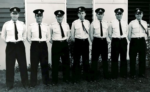 More guys from class 87A 29 May, 1961: Harvey Juergens 10018, Doug Philp 10041, Les Wyatt 10039, Peter (Bob) Drooger 10019, Mike Stephens 10026, Ian McPHEE 10009, Terry Lester 10049.