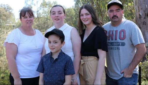 Leading Senior Constable Dennis Cox (right) with L-R wife Selina, son Jacob, 11, and daughters Shauna, 20, and Hannah, 17.