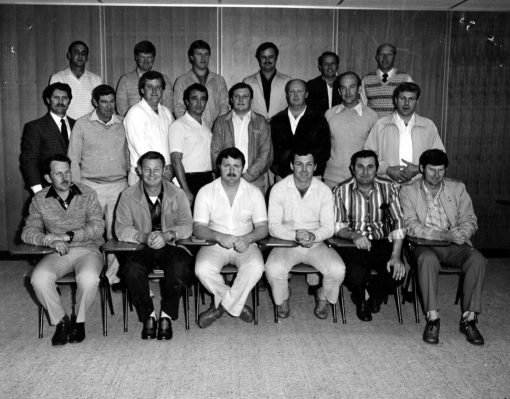 """Hank Vanderwaarden 2019 · Found an old photo of what I think was a Sergeants course or First Line Commanders course at Penrith Police Station around mid 1980s. Can't remember all the names but I will give it a try. <span style=""""color: #ff6600;""""><strong>Back row</strong></span>: Laurie <strong>Eddy</strong> ( # 16868? ), Greg <strong>Peterson</strong> ( # 15106 ), Warren <strong>Newton</strong> ( # 14491 ), Bob <strong>Murrell</strong> ( # 15864 ), Hank <strong>Vanderwaarden</strong> ( # 20655 ), Ron <strong>Blake</strong> ( # 10029 ). <span style=""""color: #ff6600;""""><strong>Middle row</strong></span>: <a href=""""https://www.australianpolice.com.au/john-robert-thomas-hamer/"""" target=""""_blank"""" rel=""""noopener noreferrer""""><strong>John HAMER</strong></a> - instructor ( # 11103 ), Ernie <strong>Jones</strong> ( # 15468 or # 14515 ) , <strong><a href=""""https://www.australianpolice.com.au/gary-richard-buckley/"""" target=""""_blank"""" rel=""""noopener noreferrer"""">Gary BUCKLEY</a></strong> ( # 16269 ), Ces <strong>Kearney</strong> ( # 16804 ), Ray <strong>Filewood</strong> ( # 15912 ), Dave <strong>Clouston</strong> ( # 16727 ), Alan <strong>Targett</strong> ( # 14196 ), Helmut <strong>Myers</strong> ( # 16359 ). <span style=""""color: #ff6600;""""><strong>Front row</strong></span>: Kieron <strong>Power</strong> ( # 17384 ), John <strong>Findlater</strong> ( # 13571 ), <strong><a href=""""https://www.australianpolice.com.au/ronald-walter-mcgown/"""" target=""""_blank"""" rel=""""noopener noreferrer"""">Ron McGOWAN</a></strong> ( # 15631 ), Gordon <strong>Middlemisss</strong> ( # 17058 ), Gary <strong>Winchester</strong> ( # 15414 ), Mal <strong>Roser</strong> ( # 16028 )."""