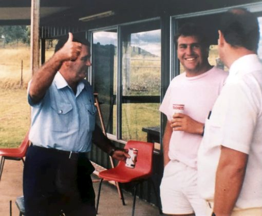 Photograph of Senior Sergeant George Blake (Tweed Heads) taken at Terranora Country Club skeet shooting facility in 1985-86. George joined us for a BBQ and refreshments after training.