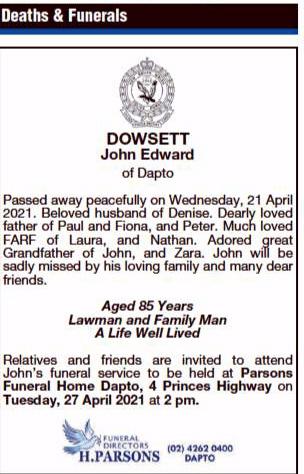 John Edward DOWSETT, John DOWSETT