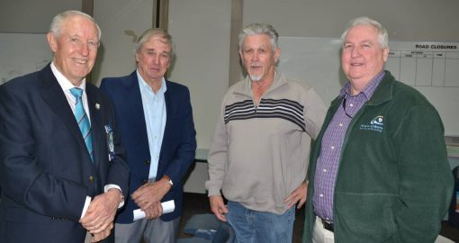 Former local police officers (from left) Bob Williamson, Ron Akhurst, Adrian Danslow and Steve Jones catch up during Retired Police Officers Day.