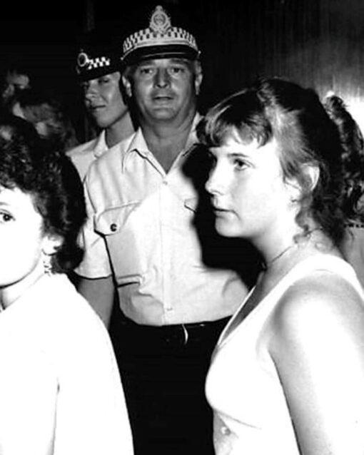 Robert John DINES, Robert DINES, Bob DINES, Bob the Bus Driver,Sergeant Robert John DINES & Constable Cathy BARRETT ( background ) at a Hurstville Blue Light Disco in 1983.