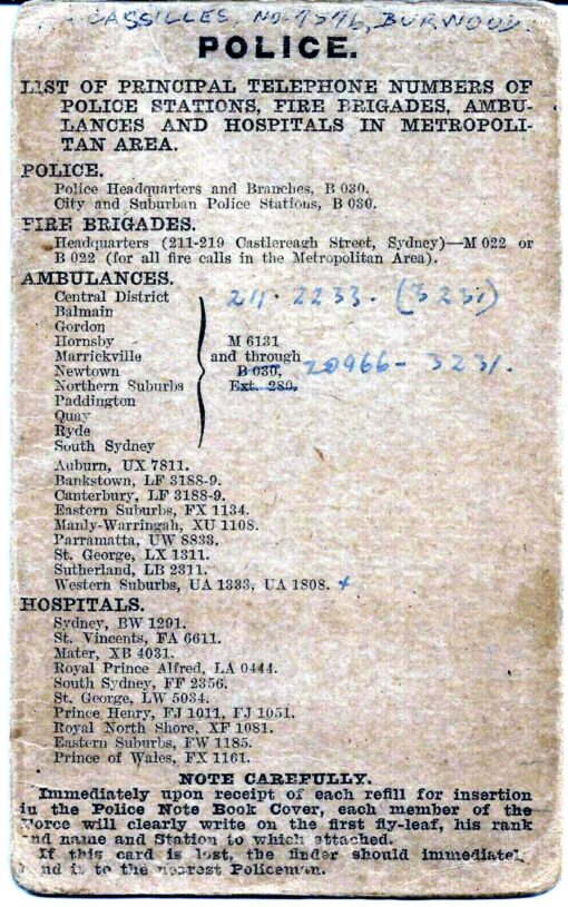 Rex Arthur CASSILLES, Rex CASSILLES, Police Notebook list of Stations and phone numbers