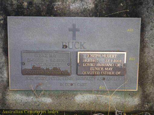 Joseph Hubert BUCK, Joe BUCK, Eunice BUCK