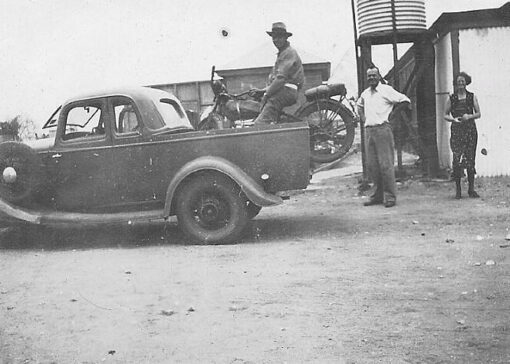 Joe arriving in Tibooburra in the Ford V8 Ute that became the first Travelling Police Station.