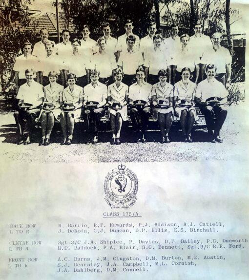 Redfern Police Academy Class 175 - Sub Class A Back Row L to R: R. BARRIE # 19933, R.F. EDWARDS, P.J. ADDISON # 19914, A.J. CATTELL # 20205, J. DeROTA # 19902, G.J. DUNCAN # 19913, D.P. ELLIS # 19906, E.S. BIRCHALL # 19917 Centre Row L to R: Sgt 3/c J.A. SHIPLEE # 11230, P. DAVIES # 19919, D.F. BAILEY # 19916, P.G. DUNWORTH # 19937, M.D. BALDOCK # 20162, P.A. BLAIR # 19942, S.G. BENNETT # 19934, Sgt 3/c R.E. FORD # 10076 Front Row L to R: A.C. BURNS # 19904, J.M. CLUGSTON # 19895, Donna M. BURTON ( Donna McMAHON / Donna Thompson ) # 19929 , M.E. AUSTIN # 19908, S.J. DEARNLEY # 19945, J.A. CAMPBELL # 19903, M.L. CORNISH # 19898, J.A. DAHLBERG, D.M. CONNELL # 19891