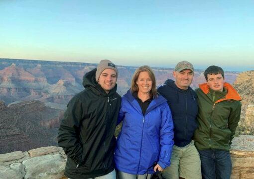 Conor Ferguson, Tanya Ferguson, Scott Ferguson & Tyler Ferguson at the Grand Canyon, USA in 2018
